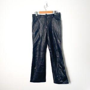 Vintage Genuine Leather Black High Waisted Pants